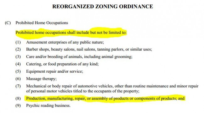 Original zoning ordinance that prohibited any kind of manufacturing.