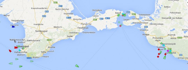 Shipping traffic in the black sea