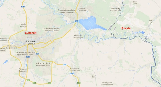 Luhansk relative to Russia.