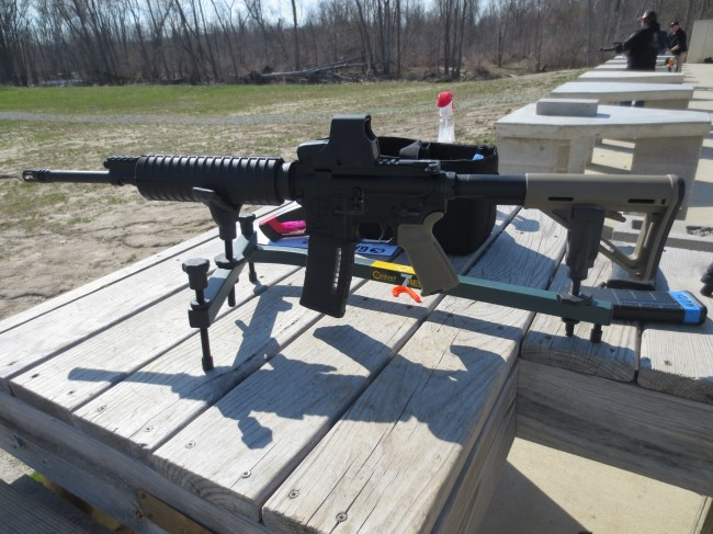 Mounted in the rest ready for zeroing.