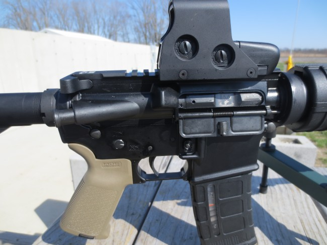 The upper receiver with EOTech mounted. Note there is no light gap between the receivers. Solid fit!