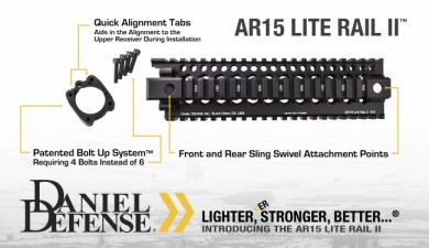 A Daniel Defense add with the chevrons and variation on their standard logo.