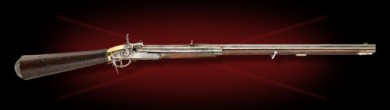The Giradoni air rifle. A similar model was used by Lewis and Clark. Like the modern AirForce rifle, the buttstock is the air tank, although at considerably  lower pressure (~800 psi).