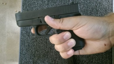Grip using a Vickers' Tactical extension pad was more comfortable, even if my pinky was about to come off.