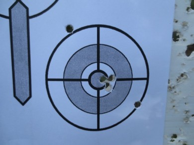 The Gamo Raptor group. The first two shots went wild (no idea why), but the last three were excellent.