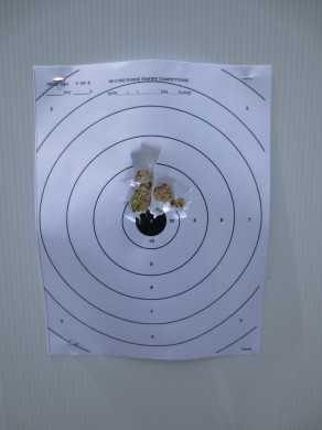 Rifled slugs in a smoothbore barrel at 25 yards. POI equals POA from the factory with no adjustment.