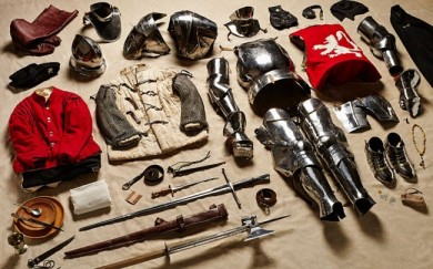 1485 Yorkist man-at-arms, Battle of Bosworth 'There's a spoon in every picture,' Atkinson says. 'I think that's wonderful. The requirement of food, and the experience of eating, hasn't changed in 1,000 years. It's the same with warmth, water, protection, entertainment.' Picture: THOM ATKINSON