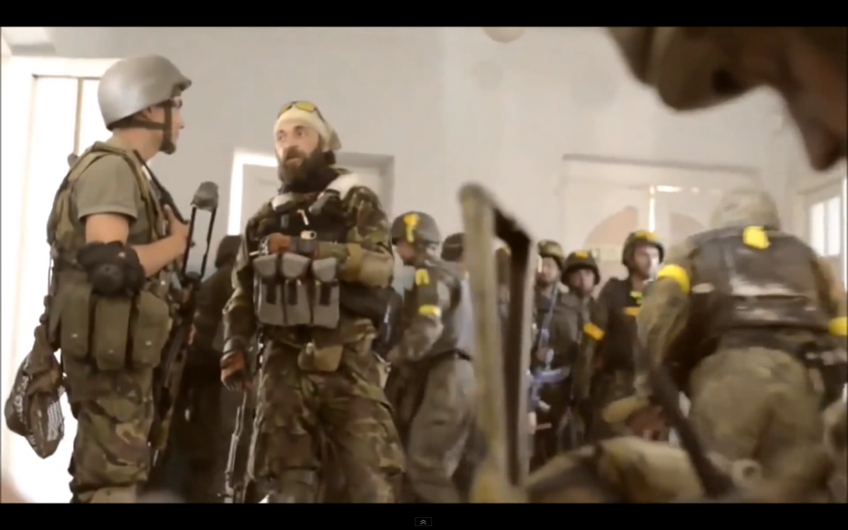 Apparently Ukrainian operators have alot in common with their American counterparts in the facial department. Notice how the stock of the AK74 in the foreground is tactically painted. And the stock on the solder on the left has a recoil pad on his rifle.