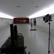 factory test shooting range, with chrono and speed camera equipment, necessary for scientific testing of new guns
