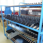 Racks of complete guns, waiting to be packed for delivery