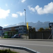 View to building that contains B+T store, and its surroundings