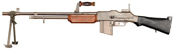 The M1918A2 Browning Automatic Rifle. This version was used in World War Two as opposed to the original M1918 which was used at the tail end of World War One and in the interwar years. It was popular to take off the bipod as this added weight to the rifle. Image from World.guns.ru.