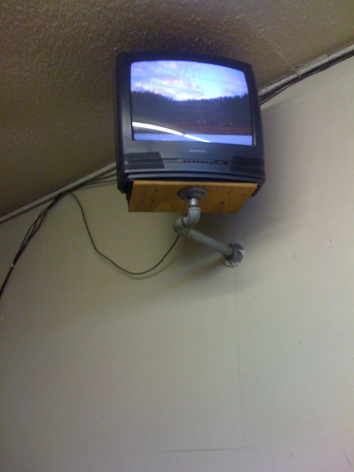 One of the TV monitors in the cafeteria that monitors the Main Line.
