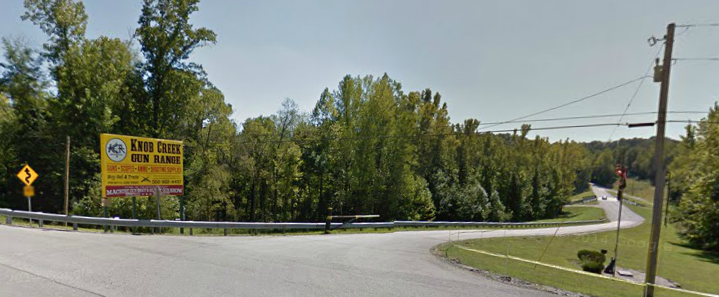 The entrance to Knob Creek from Highway 44, image from Google Maps.