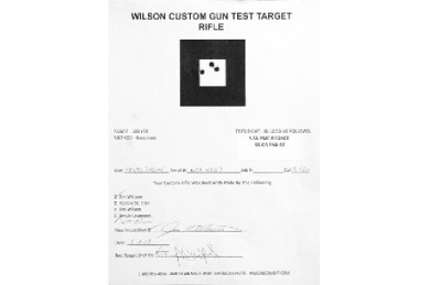 Test sheet with 5.56 NATO, 55 grain, at 100 yards