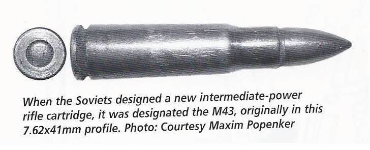 The original 7.62x41mm caliber developed in 1943 was a precursor to the now-ubiquitous 7.62x39mm.