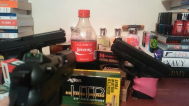 An all-Glock threat of my friend's Coke, which I held hostage. Just because.