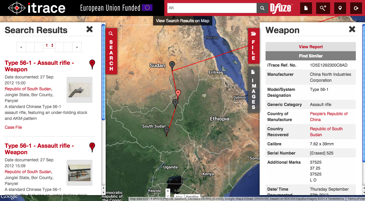 An example of an iTrace weapon trace. Notice how the serial number was partially erased. This particular trace follows a Type 56 from China to its location in Sudan. The idea isn't to pinpoint the location of various weapons around the world, but instead to find out who is moving these weapons into conflict zones.