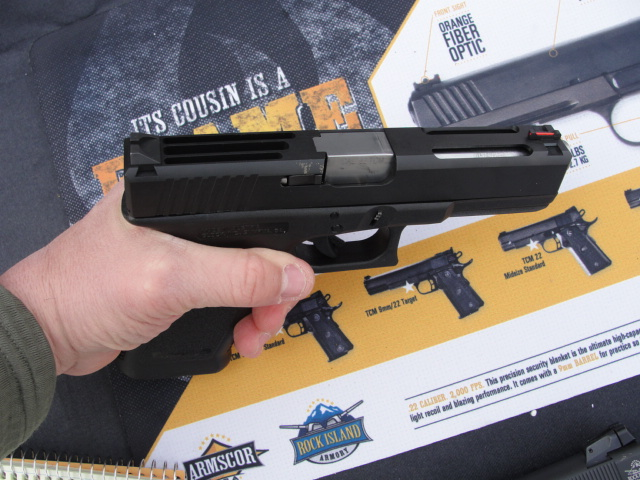 A Glock 19 with the RIA .22TCM conversion kit installed.