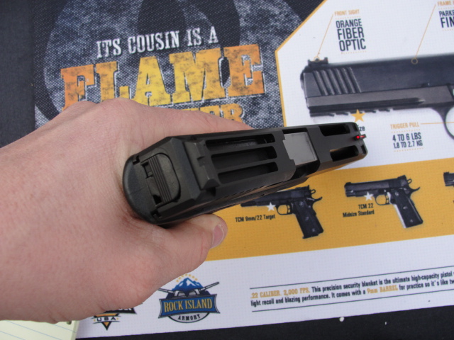The vented slide seems to be an RIA design, and significantly reduces the weight of this Glock.