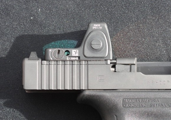 This Glock MOS pistol has the Leupold Delta Point red dot optic mounted.