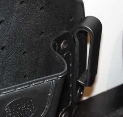 The Fobus IWB Holsters belt clips are sturdy polymer, and capable of belts up to 1.5 inches wide.