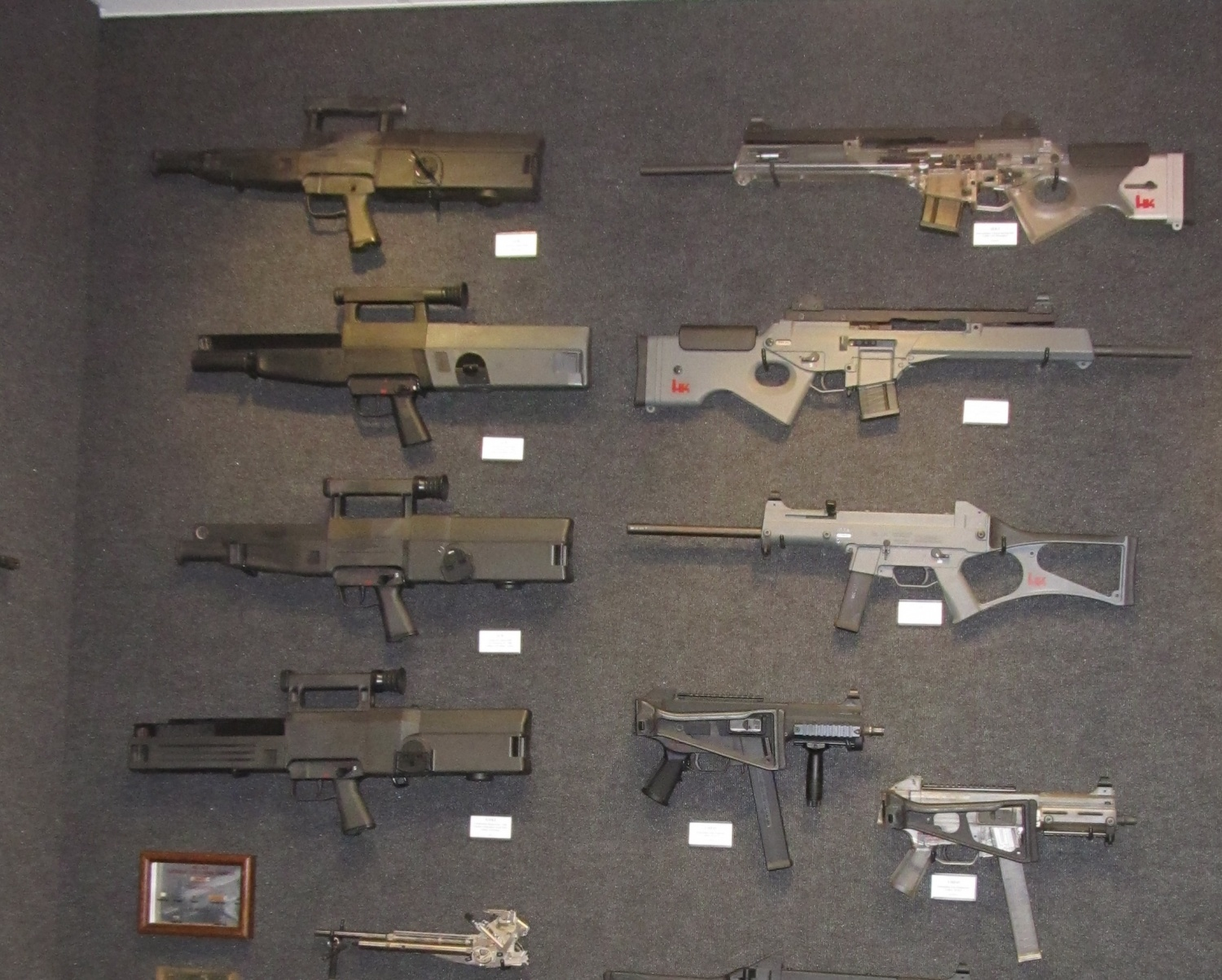 Some of the G11, SL8 and UMP prototypes. Notice the cutaway version of the SL8 and the various designs of the G11 from a shorter length to a rifle sized version. Technology so ahead of its time that even today we don't know where caseless ammunition will proceed. It was also optically equipped, something that Western militaries consider as a standard in the 21st century but the G11 was almost thirty years ago when it was being tested.