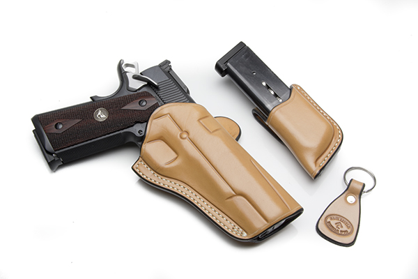 Rafter-L Combat Leather BBQ, Full-Size, Right Hand, Tan Leather, Holster & Mag Pouch
