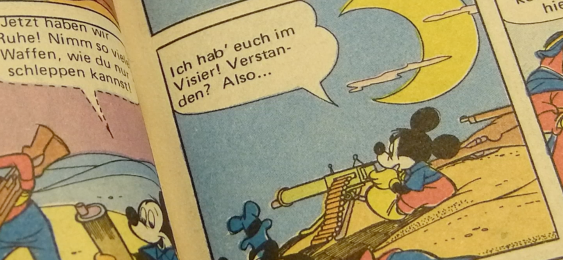 Donald Duck going agro with a Tommy gun and a revolver.
