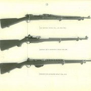 Top to bottom: The .30 caliber M1903 Springfield repeating rifle, the .276 caliber T3E1 Garand semiautomatic rifle, the .276 caliber Pedersen semiautomatic rifle, this particular example most likely having been designated T2E1.