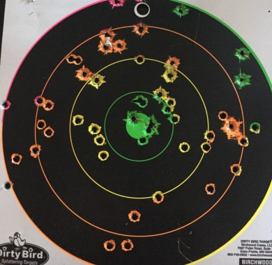 The tight circles are from the above video ignore the fatter circles--I didnt pull it down before my buddy took some pistol shots at it).  Shots were from around 30 meters.