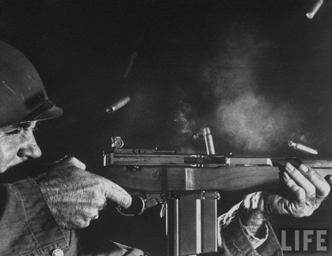 A US Army Ordnance engineer fires the prototype T47 rifle on fully automatic. Note the grimace of the man as he wrestles with the small arms equivalent of a fire hose. Image source: firearmsworld.net, original source LIFE magazine