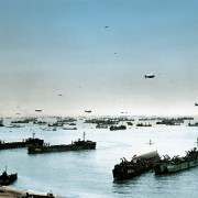 Allied ships, boats and barrage balloons off Omaha Beach after the successful D-Day invasion, near Colleville-sur-Mer, Normandy, France on June 9, 1944.  (Photo by Galerie Bilderwelt/Getty Images)