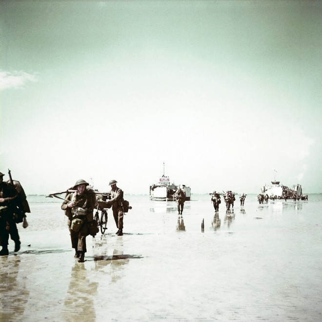 Troops from the 3rd Canadian Infantry Division landing at Juno Beach on the outskirts of Bernieres-sur-Mer on D-Day, June 6, 1944. 14,000 Canadian soldiers were put ashore and 340 lost their lives in the battles for the beachhead.  (Photo by Galerie Bilderwelt/Getty Images)