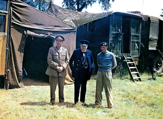 From left, Chief of the Imperial General Staff Field Marshal Sir Alan Brooke, British Prime Minister Winston Churchill and commander of the 21st Army Group, Field Marshal Bernard Montgomery in Normandy on June 12, 1944, six days after the D-Day landings during Operation Overlord Normandy in World War II.  (Photo by Galerie Bilderwelt/Getty Images)