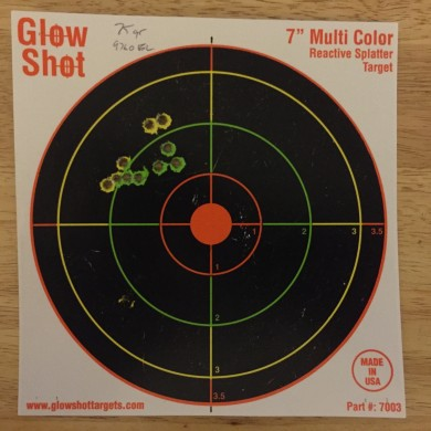 Aimed Position from a rest at 35 meters.  Hornady 75gr.  Corresponds to the video above.