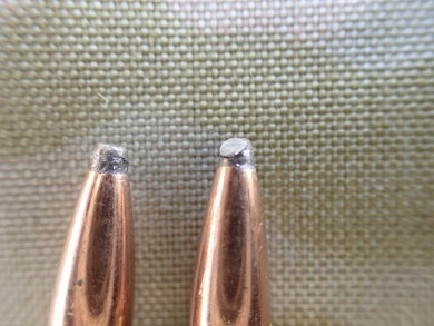 Winchester 100gr SP, deformed point on the right. That's going to cause accuracy issues.