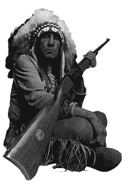 Chief Lame Deer and his Savage rifle, circa 1919