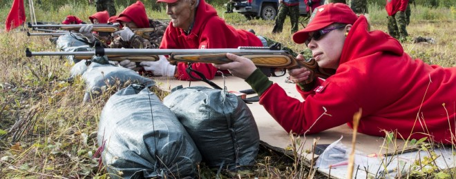 This is one of the first images released of Canadian Rangers training with their new rifles, designated C-19.