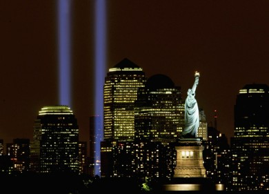 NEW YORK - SEPTEMBER 11: Two columns of light symbolize the fallen World Trade Center towers in a tribute in light September 11, 2003 in New York City. The light tribute that debuted last year returned to mark the second anniversary of the terrorist attacks that destroyed the World Trade Center. (Photo by Chris Hondros/Getty Images)
