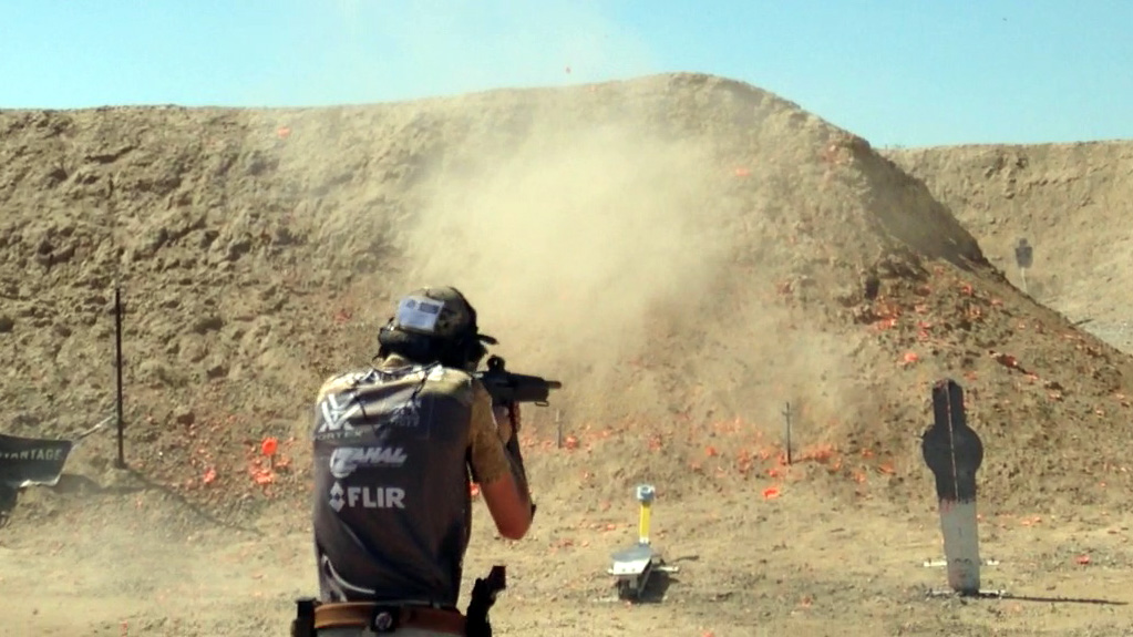 The author shooting at the 2015 MGM Ironman using the Holosun HS403A on his Mka 1919