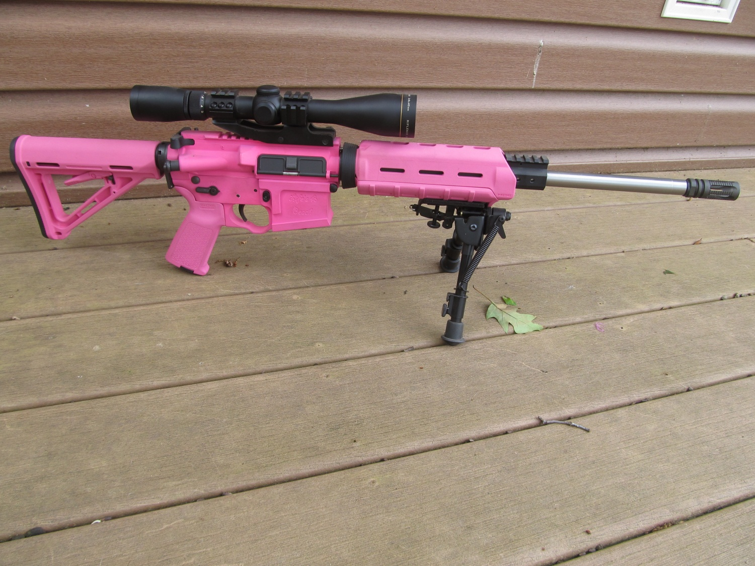 One of their pink ARs, Thomas made this one for his wife.