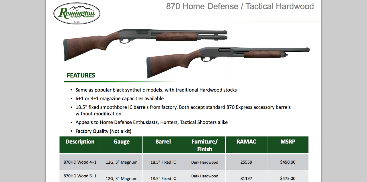 The Remington 870 standard and extended magazine model. Obviously the prices listed have been lowered.