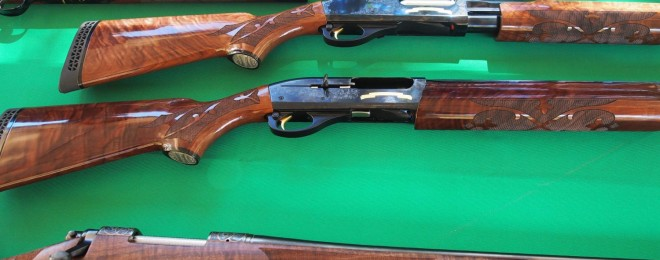 High grade Remington 870,100 and model 700. Just look at that hand engraving and gorgeous wood!