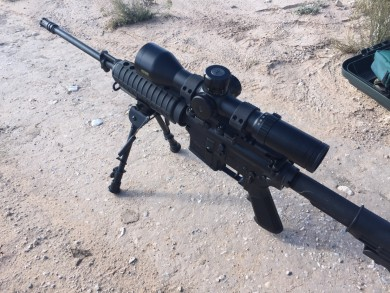 Rifle upgraded for a long range shoot.