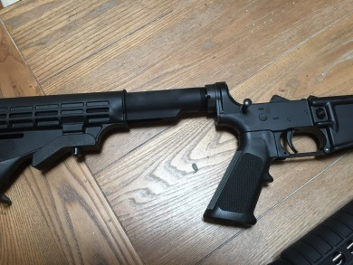 Collapsible stock, buffer tube and hand grip.