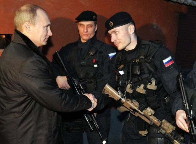 Putin with FSB Alpha Group officers in Chechnya.