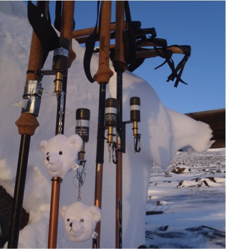 """Snubblebluss warheads"" attached to spare ski poles, if I recall correctly the little polar bear heads were on the safety pin that ""armed"" the charge once the trip wire was attached."