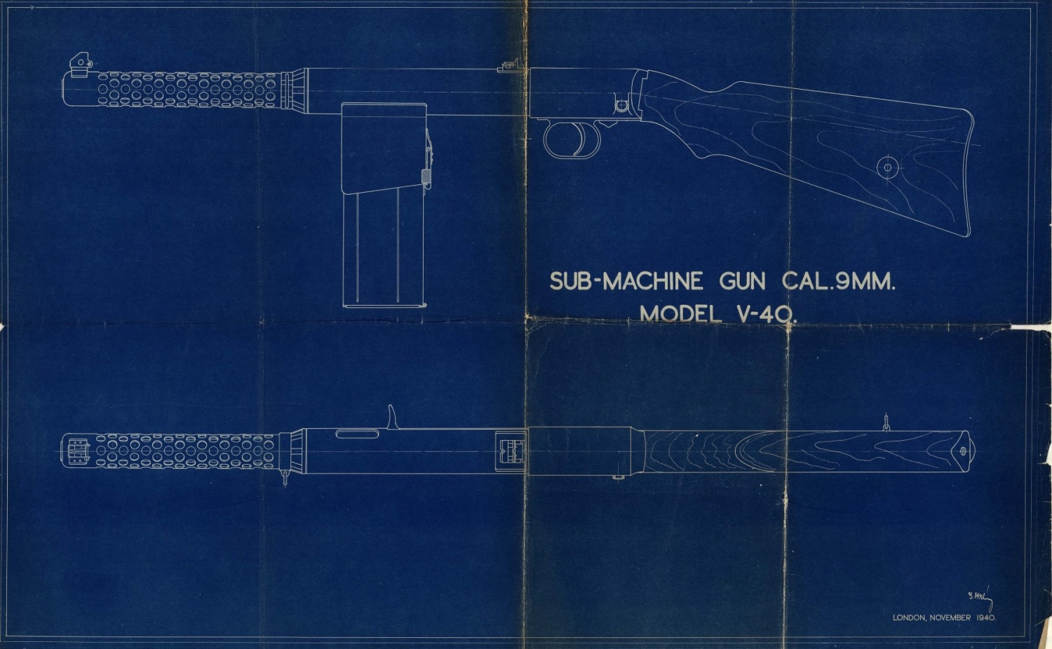 Weird magazines vol v the vesely submachine guns the firearm the vesely v 40 blueprint primary plate image source the vesely v 40 blueprint available in the small arms review archive courtesy of the royal malvernweather Image collections