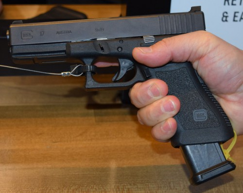 The GL9 21-round magazine only sticks out a little over an inch from the base of the Glock grip.